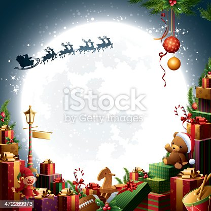 - santa's sleigh flying over pile of gifts and toys