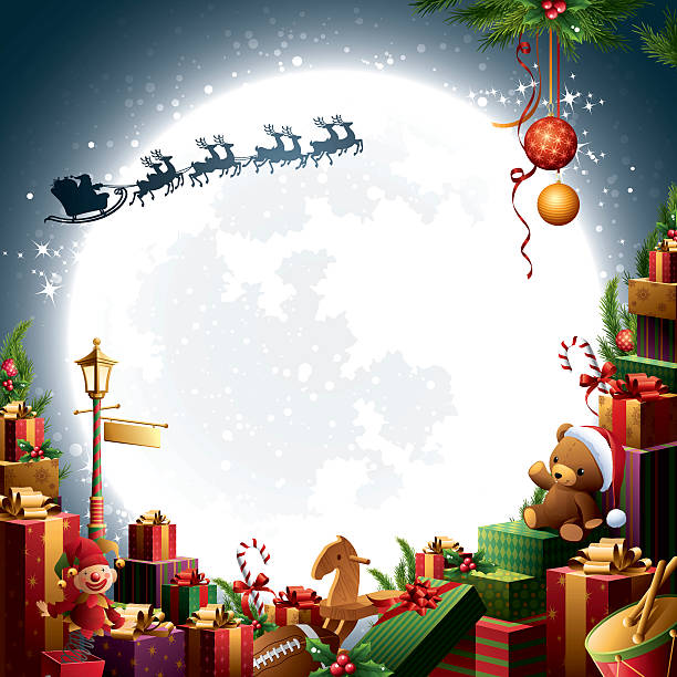 weihnachten geschenke & spielzeug-weihnachtsmann schlitten - kinderspielzeug stock-grafiken, -clipart, -cartoons und -symbole