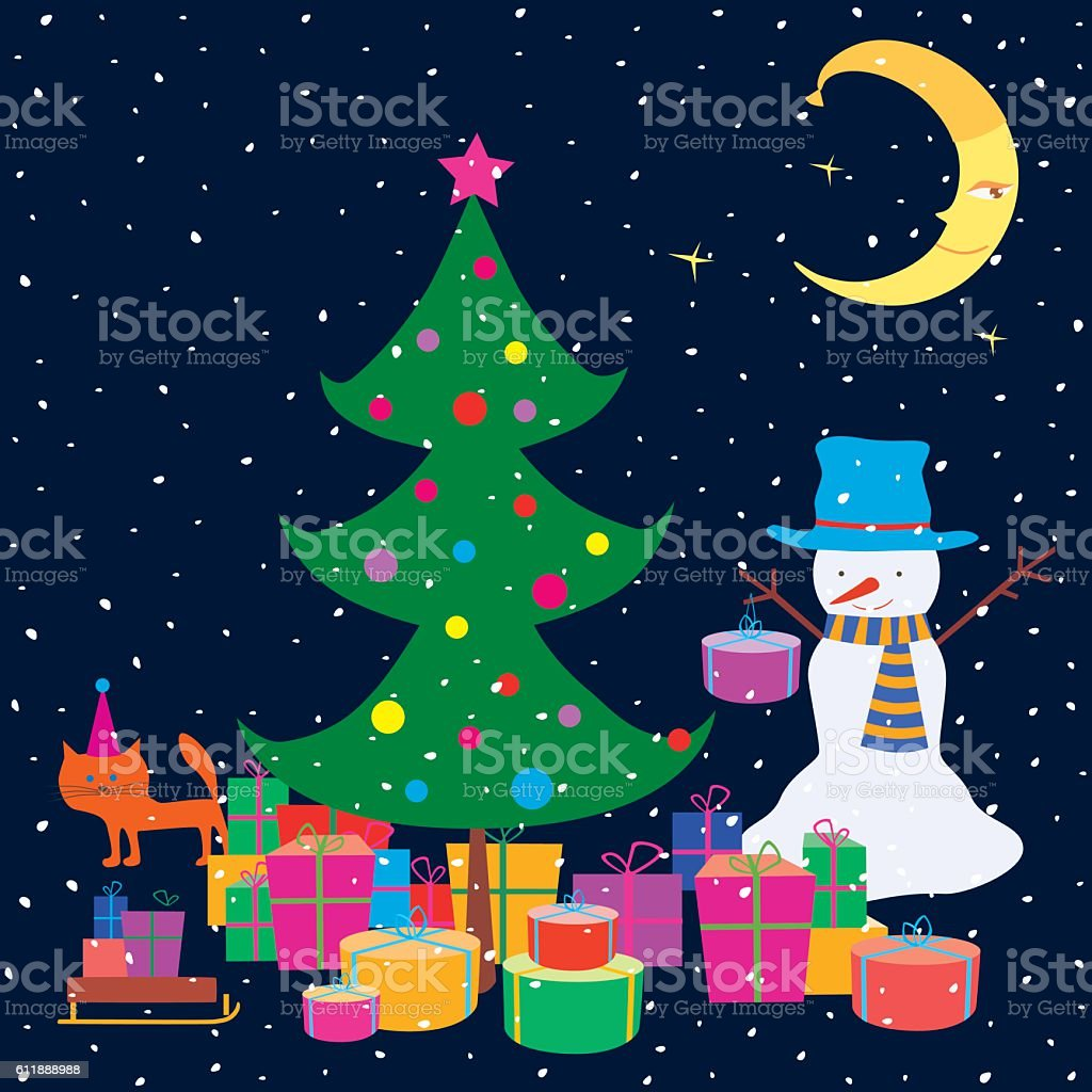 Christmas Gifts Under A Christmas Tree Stock Vector Art & More ...