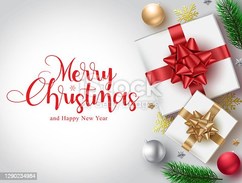 istock Christmas gifts vector background template. Merry christmas typography text for xmas with gift and ball elements for greeting card invitation design. 1290234984