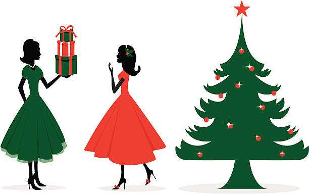 Christmas gifts vector art illustration
