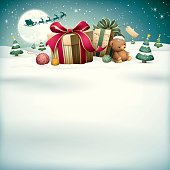 illustration of christmas gifts and teddy bear with santa sleigh reindeer on snow field background