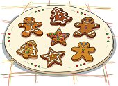 Christmas ginger bread illustration, in colour