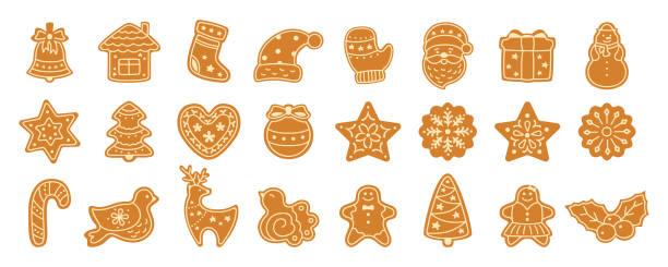 illustrazioni stock, clip art, cartoni animati e icone di tendenza di vettore set di cartoni animati biscotto di pan di zenzero di natale - christmas cooking