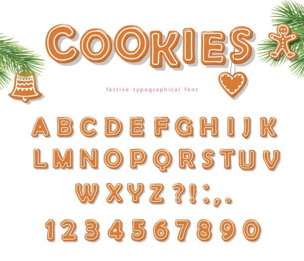 bildbanksillustrationer, clip art samt tecknat material och ikoner med christmas pepparkakor cookie teckensnitt. kex bokstäver och siffror. vector eps10 - pepparkaka
