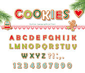 Christmas Gingerbread Cookie font. Biscuit letters and numbers. Vector