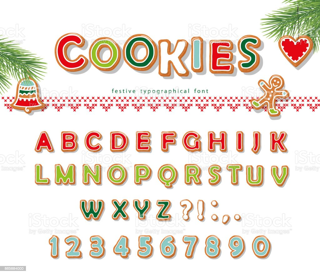 Christmas Gingerbread Cookie font. Biscuit letters and numbers. Vector vector art illustration