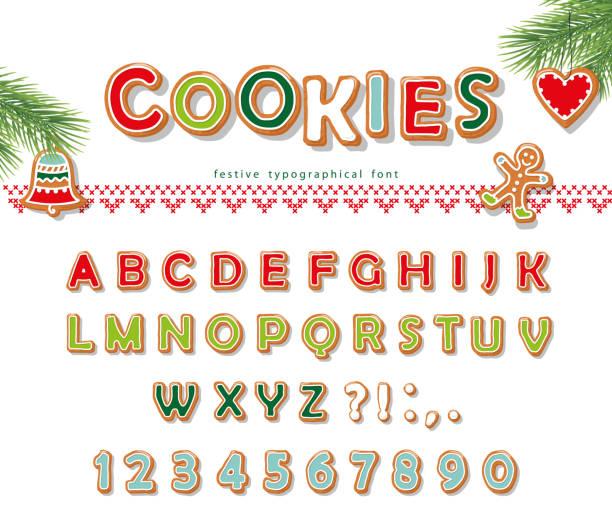 ilustrações de stock, clip art, desenhos animados e ícones de christmas gingerbread cookie font. biscuit letters and numbers. vector - bolacha