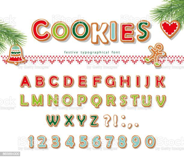 Christmas Gingerbread Cookie Font Biscuit Letters And Numbers Vector - Arte vetorial de stock e mais imagens de 2-3 Anos