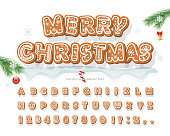 Christmas Gingerbread Cookie font. Bisquit traditional decorative alphabet. Hand drawn cartoon colorful letters, numbers and symbols for holidays design. Vector illustration