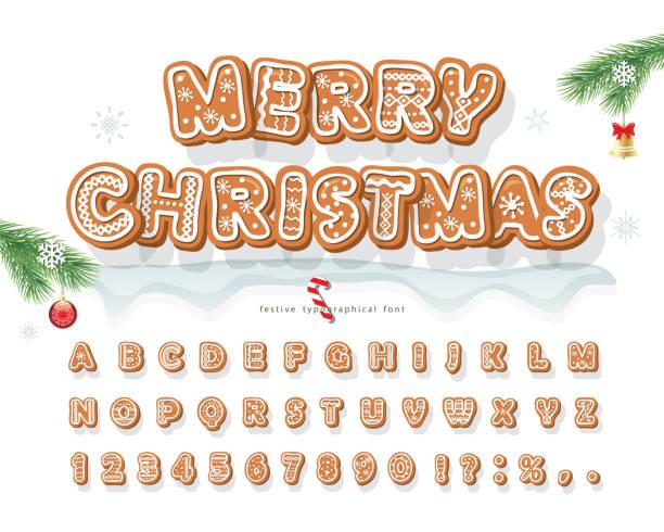 bildbanksillustrationer, clip art samt tecknat material och ikoner med christmas pepparkakor cookie font. bisquit traditionella dekorativa alfabetet. handritade tecknade färgglada bokstäver, siffror och symboler för helgdagar design. vektor - pepparkaka