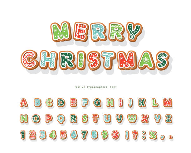 ilustrações de stock, clip art, desenhos animados e ícones de christmas gingerbread cookie font. hand drawn cartoon colorful alphabet for holidays. biscuit letters and numbers. vector - christmas cookies