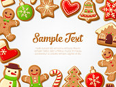 Gingerbread cookies background. Perfect for christmas banners, greeting cards and presentations. Vector illustration.
