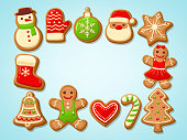 Christmas gingerbread cookies making a rectangular frame. Vector illustration.