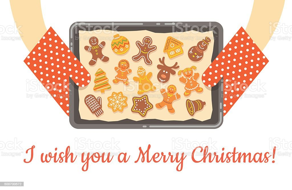 Christmas gingerbread cookies just baked on tray vector background vector art illustration