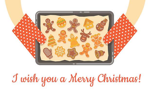 illustrazioni stock, clip art, cartoni animati e icone di tendenza di natale panpepato i biscotti appena sfornati, su un vassoio sfondo vettoriale - christmas cooking