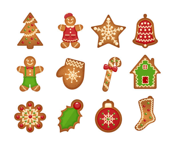 stockillustraties, clipart, cartoons en iconen met christmas gingerbread cookies - speculaas