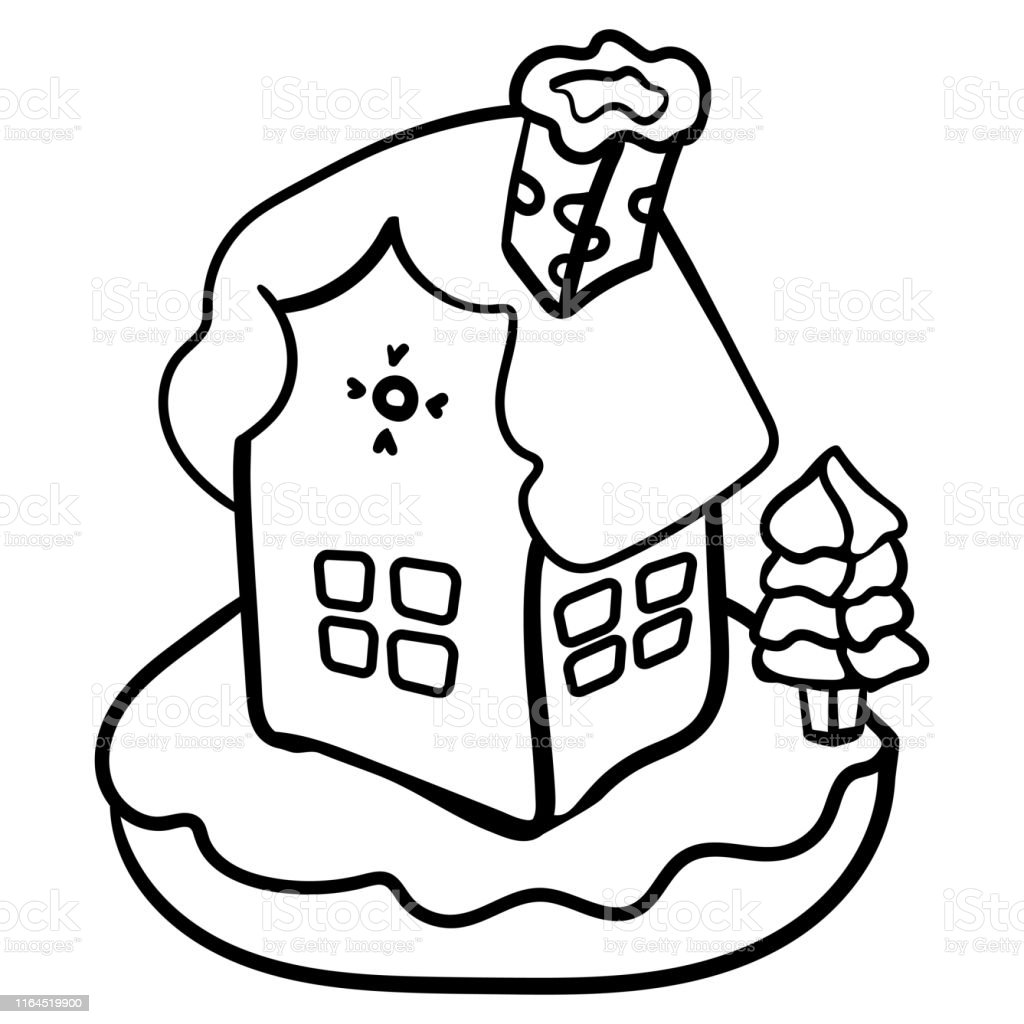 Christmas Gingerbread House Coloring Page Or Book Vector Gingerbread House Vector Stock Illustration Download Image Now Istock