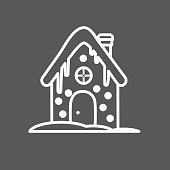 Vector illustration of a Christmas Flat Design Icon. Line art outline style. Easy to edit. Gingerbread House.