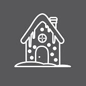 Christmas Gingerbread House Flat Outline art Design Icon Set