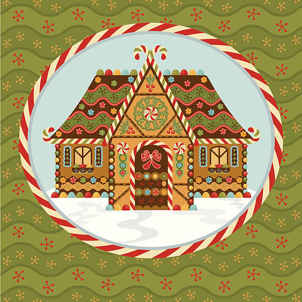 Christmas Gingerbread House Adorable Gingerbread House in a Christmas Candycane Frame. gum drop stock illustrations