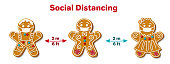 Christmas Gingerbread Man in Facial Mask. Social distancing poster with text to self quarantine and protect your health. New Year's pandemic coronavirus. Vector illustration