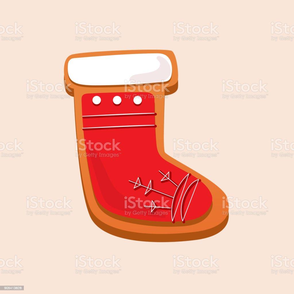 Christmas gingerbread, sweet pastries in form sock. Santa claus symbol vector art illustration