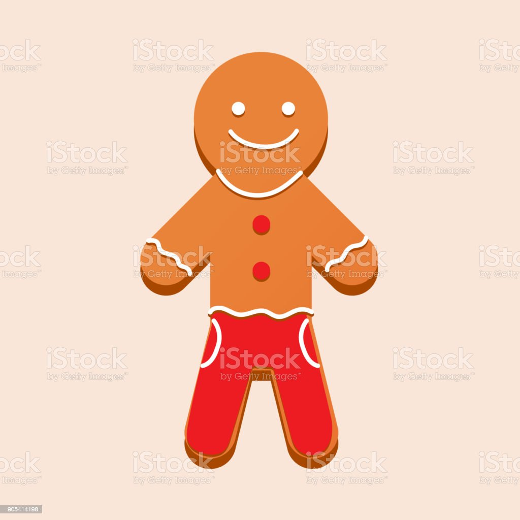 Christmas gingerbread with glaze in form of man. New Year's vector art illustration