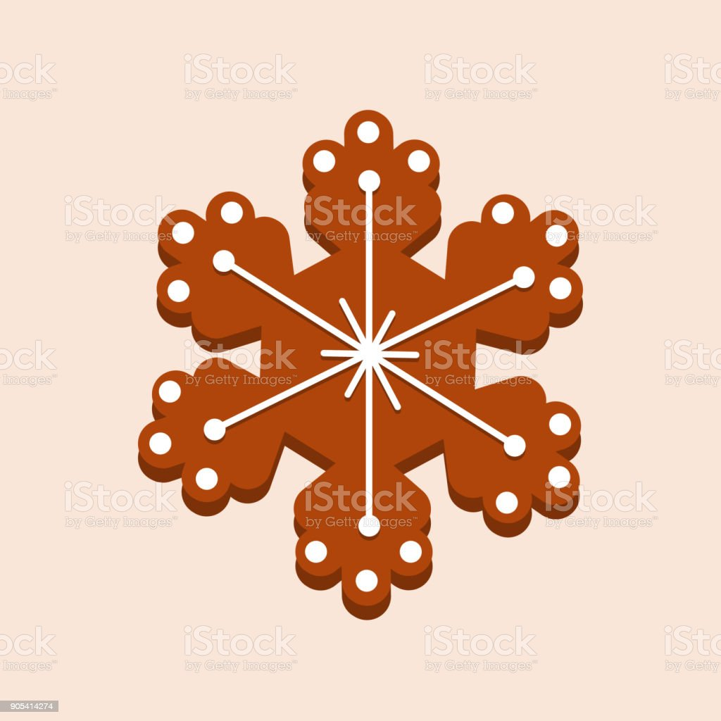 Christmas gingerbread with glaze, snowflake. New Year's gift, children holiday vector art illustration
