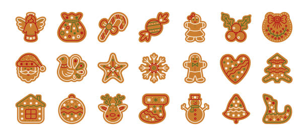 Christmas gingerbread xmas cookie flat icon set Christmas gingerbread flat icons set. xmas cookies sign isolated on white. Home backing sweet food. Ginger biscuit, bell, deer, man. Simple holiday icon, gingerbread symbol. Vector illustration decorating a cake stock illustrations