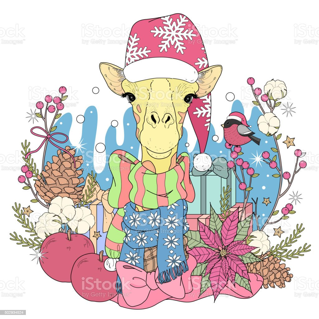 Christmas Giraffe Coloring Page Stock Vector Art & More Images of ...