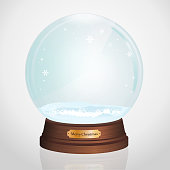 Realistic ball for gifts. Merry Christmas and Happy New Year. Snow and glass christmas decoration.