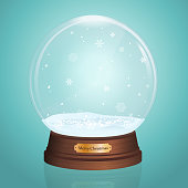 Glass Toy. Snow realistic globe. Vector illustration. New year chrismas object.