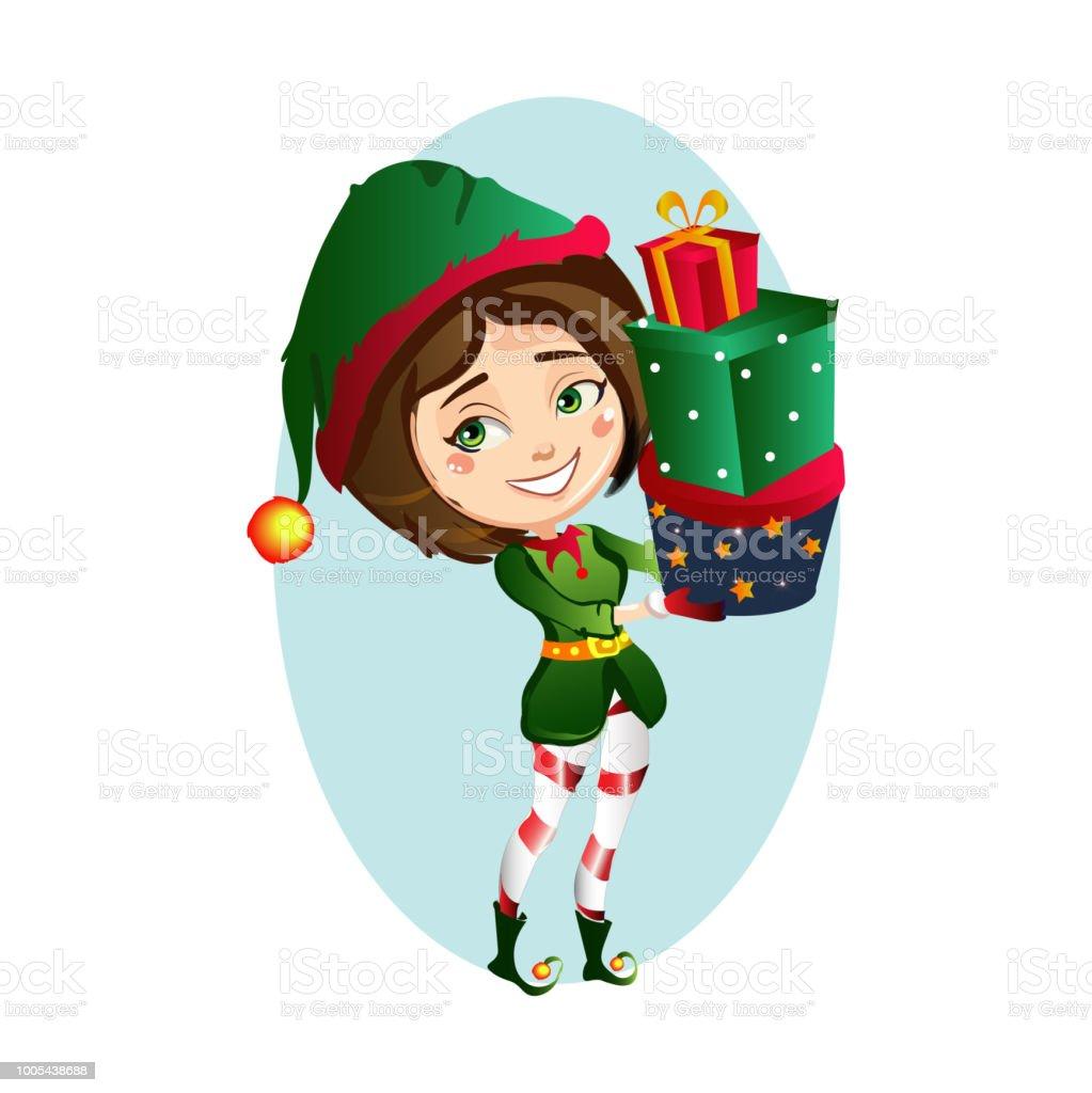 Weihnachten Mädchen Elf 3 Geschenk In Lustige Kleidung Halten ...
