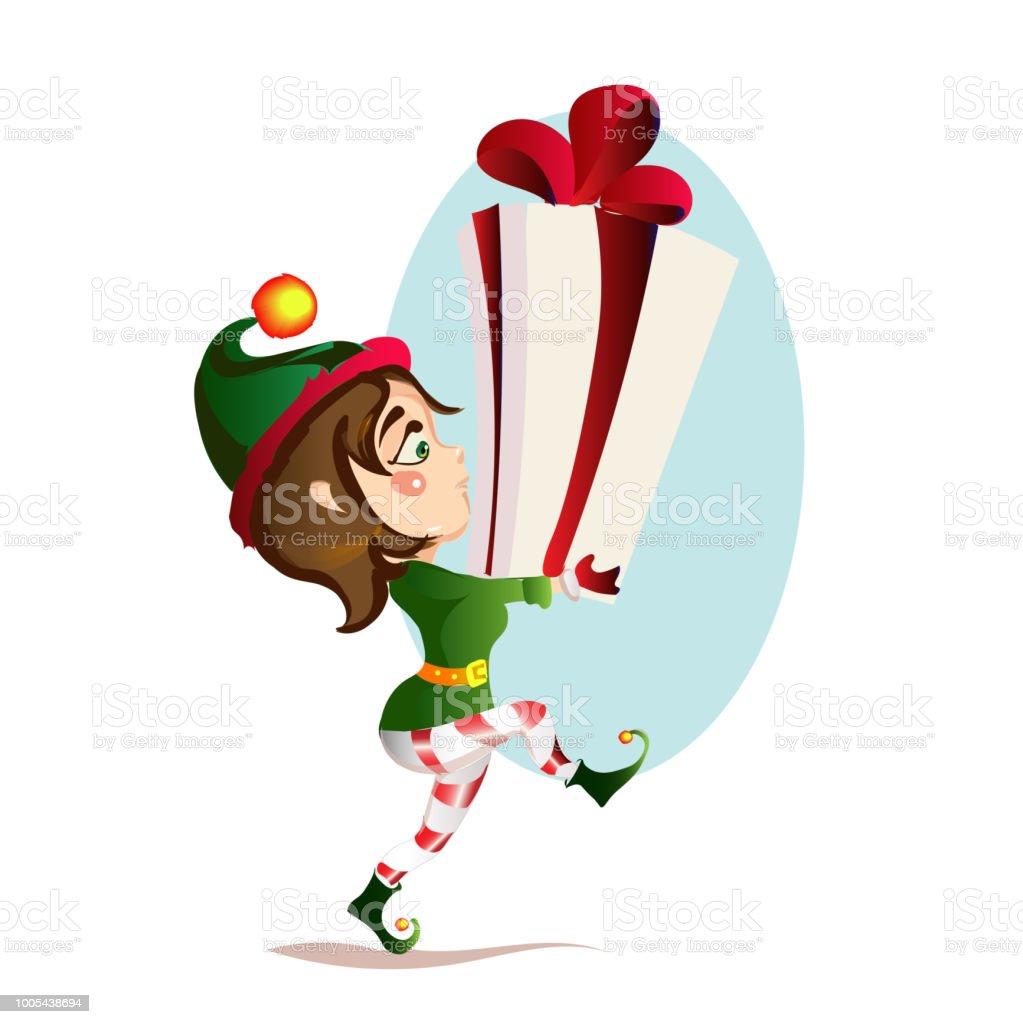 Weihnachten Mädchen Elf Ist Bär Ein Großes Geschenk ...