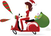 Vector illustration - Christmas Girl Riding A Motorcycle, Carrying Gift Sack.