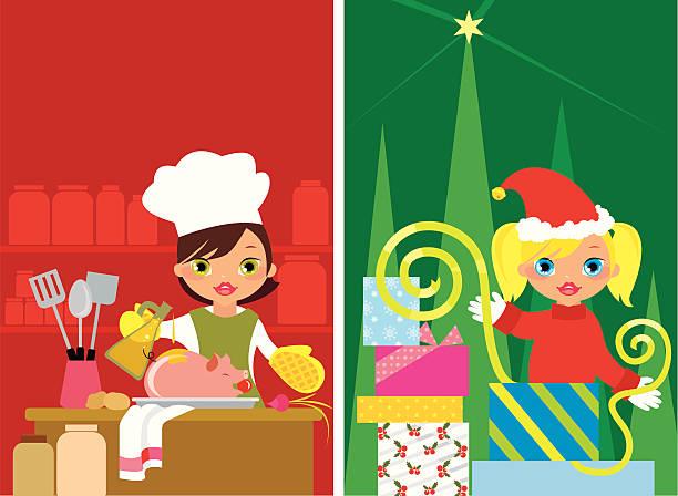weihnachten mädchen - schweinebraten stock-grafiken, -clipart, -cartoons und -symbole