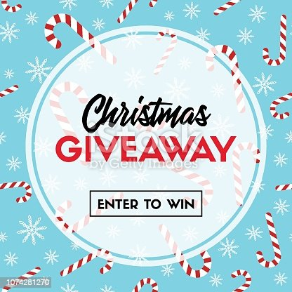 istock Christmas giveaway. Vector template with candy cane patterns for online holiday contest 1074281270