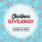 Christmas giveaway. Vector template with candy cane patterns for online holiday contest
