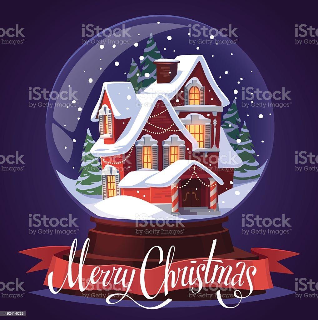Glas Ball Weihnachten Mit Schnee Begrüßung Vektor Illustration ...