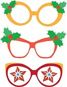 Christmas glasses on a white background. Props for photography and masquerade parties. Flat style illustration. Or for scrapbooking.