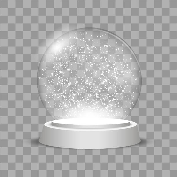 illustrazioni stock, clip art, cartoni animati e icone di tendenza di christmas globe with falling snow on transparent background. vector - glass world
