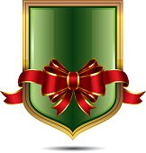 Vector Christmas Shield with glossy Red Bow