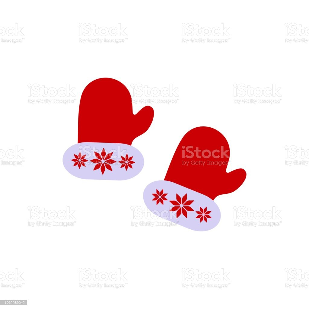 A Christmas Gloves with ornament of icons on the white background