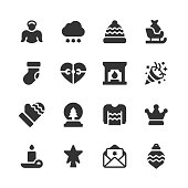 16 Christmas Glyph Icons. Christmas, Holiday, Celebration, Angel, Winter, Snow, Snowflake, Winter Hat, Sleigh, Sock, Heart, Gift Giving, Christmas Gift, Fireplace, Fire, Party, Dinner, Winter Glove, Christmas Tree, Sweater, Crown, Candle, Christmas Star, Invitation, Christmas Card, Christmas Bauble, Decoration, Decorating.