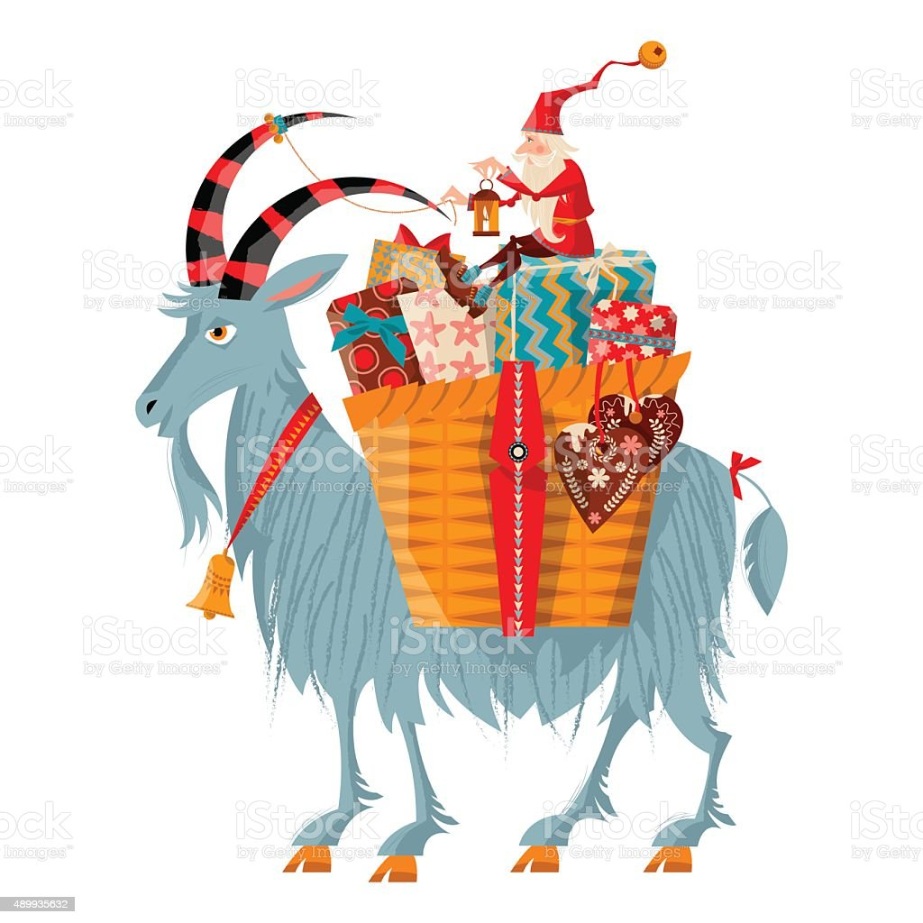 Christmas Gnome And Yule Goat With A Gift Basket Stock Vector Art ...