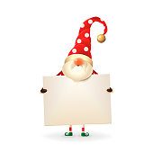 Christmas Gnome holds signboard - white dots on red hat