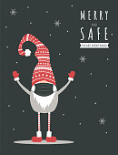 Christmas gnome wearing a protective face mask against coronavirus. New year greeting card with quote Merry and Safe. Vector illustration in cartoon style. Vintage design for poster, banner, flyer.