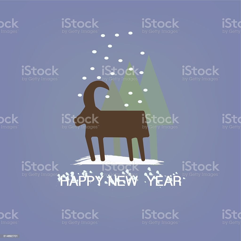 Christmas goat with Snowflakes symbol of New Year Holiday vector art illustration