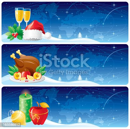 Christmas banners set with world map background and colorful illustrations.Zip contains AI CS, CDR-11.